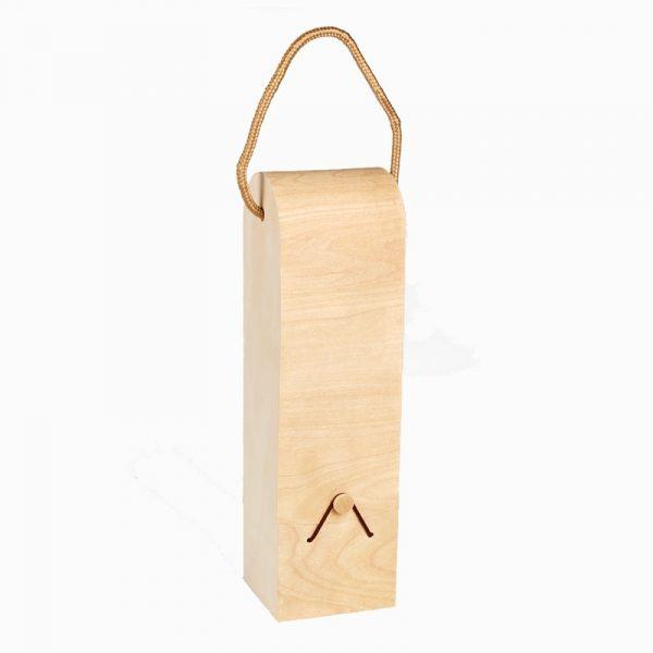 sac à bouteille en bois avec anse