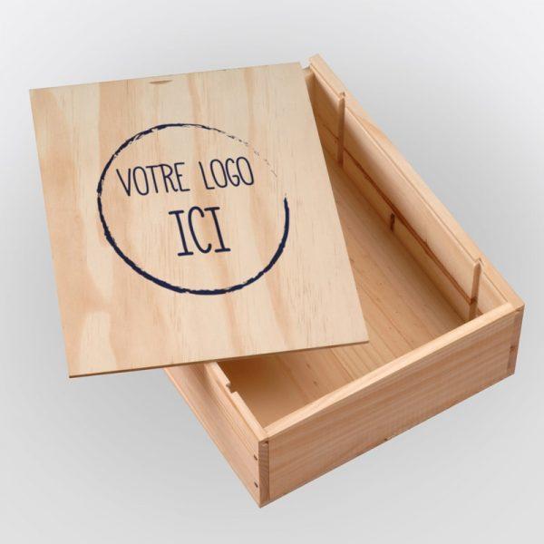 caisse à vins en bois avec logo personnalisable