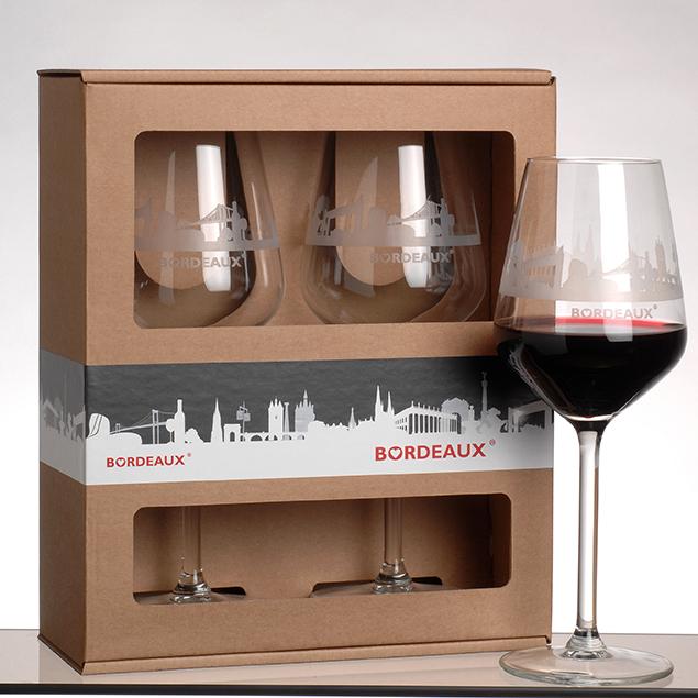 Coffret de 2 verrs à vin de bordeaux