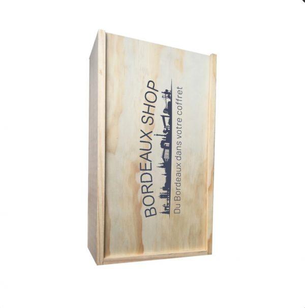 caisse en bois avec logo